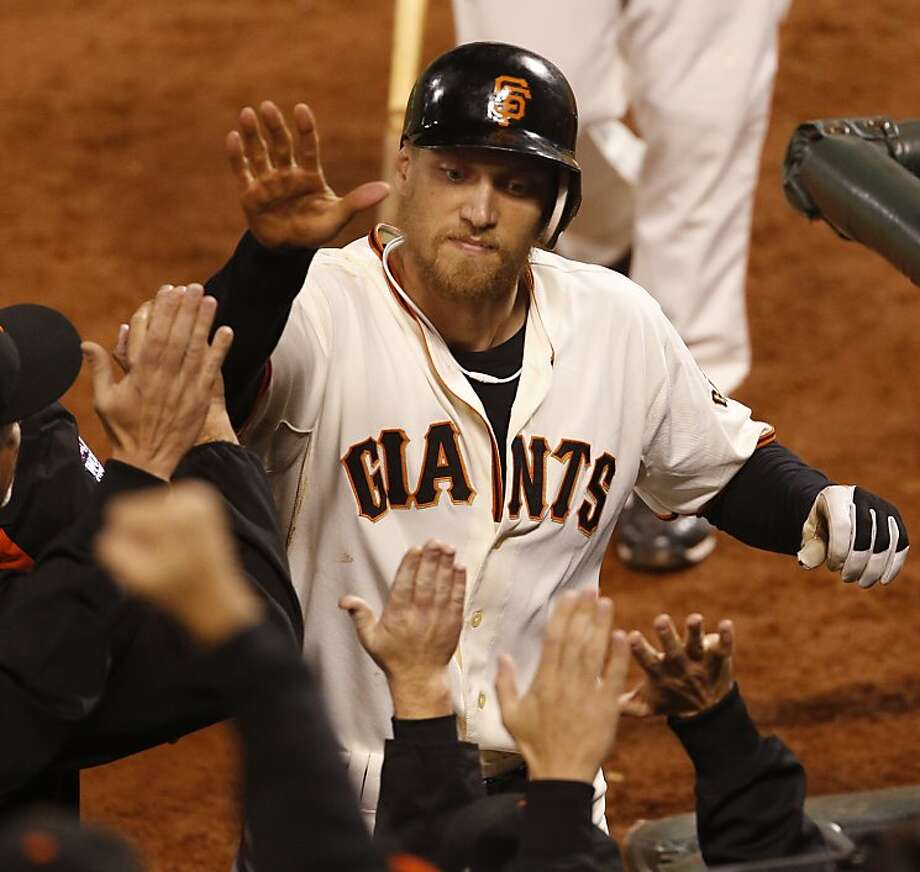 Hunter Pence's sacrifice fly is appreciated. Photo: Beck Diefenbach, Special To The Chronicle