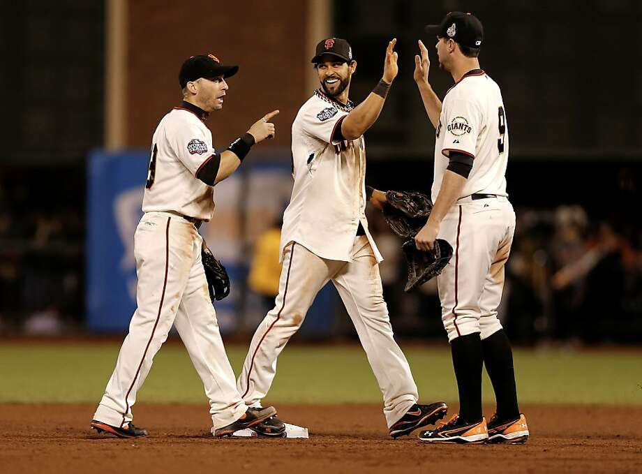 Marco Scutaro, Angel Pagan and Brandon Belt can relax after the Giants take a 2-0 lead in the World Series. Photo: Michael Macor, The Chronicle