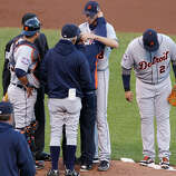 Doug Fister is checked after he was hit by Gregor Blanco's liner in the 2012 World Series.