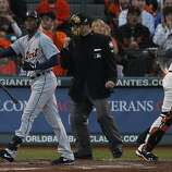 Tigers' center fielder Austin Jackson reacts to striking out in the 3rd during the World Series game 2 at AT&T Park in San Francisco, Calif., on Thursday, Oct. 25, 2012.