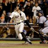 GIants' Hunter Pence hit a sacrafice fly ball in the eighth inning to score teammate Angel Pagan, as the San Francisco Giants went on to beat the Detroit Tigers 2-0 in game two of the World Series, on Wednesday Oct. 24, 2012 at AT&T Park, in  San Francisco, Calif.