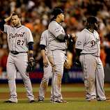 The Tigers' infield, Jhonny Peralta, Omar Infante, (behind), Miguel Cabrera and Prince Fielder gather during an eighth inning pitching change,as the San Francisco Giants went on to beat the Detroit Tigers 2-0, in game two of the World Series, on Wednesday Oct. 24, 2012 at AT&T Park, in  San Francisco, Calif.