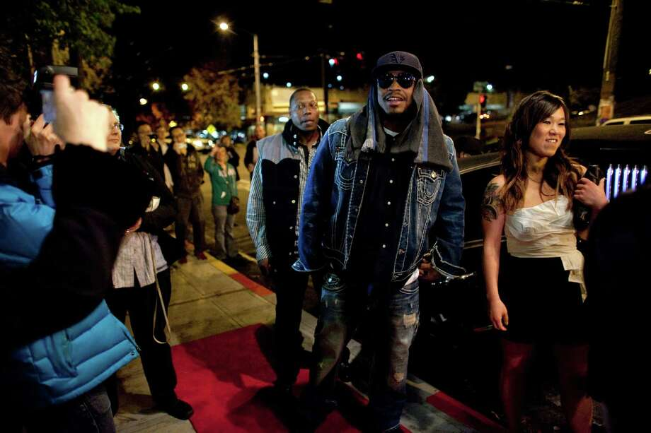 Seattle Seahawk Marshawn Lynch walks the red carpet during the premiere of the locally-filmed movie Matt's Chance on Thursday, October 25, 2012 at the Egyptian Theater in Seattle. Photo: JOSHUA TRUJILLO / SEATTLEPI.COM