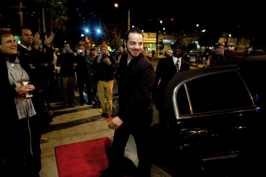 Co-writer and actor Edi Zanidache exits his limo during the premiere of the locally-filmed movie Mat
