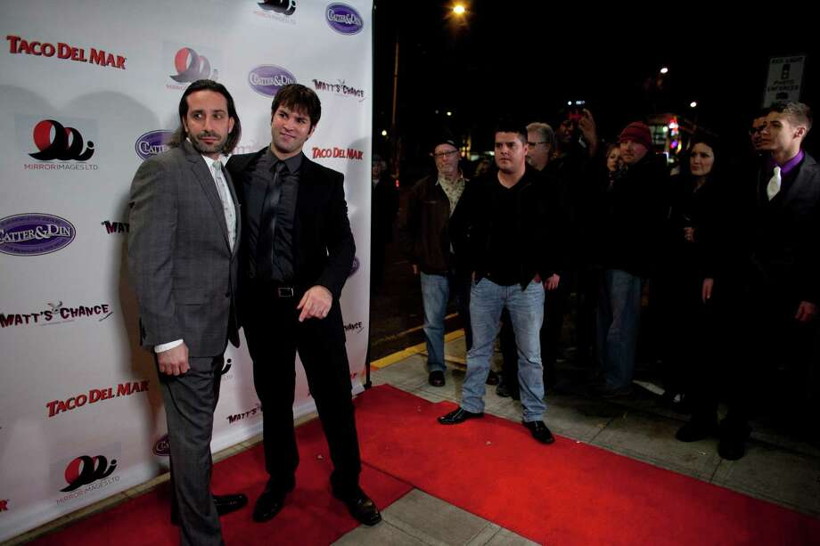 Director Nicholas Gyeney and actor Bill Sorice walk the red carpet during the premiere of the locally-filmed movie Matt's Chance on Thursday, October 25, 2012 at the Egyptian Theater in Seattle. Photo: JOSHUA TRUJILLO / SEATTLEPI.COM