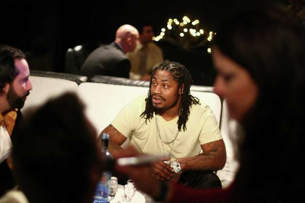 Marshawn Lynch waits as other actors get makeup applied during filming of the dark comedy 'Matt's Chance' on Wednesday, March 28, 2012, at iMusic, a nightclub in downtown Seattle. Photo: JOSHUA TRUJILLO / SEATTLEPI.COM