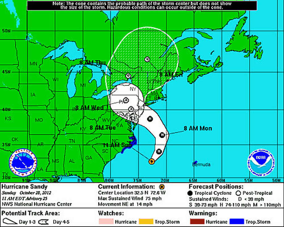 Projected path of Hurricane Sandy as of 11 a.m. Sunday, Oct. 28, 2012. Click here for more updates from National Weather Service.