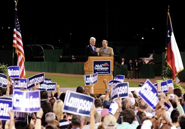 Former President Bill Clinton speaks on various topics during Lampsons Get-Out-The-Vote rally to encourage people to vote early at Vincent-Beck Stadium on Thursday, October 25, 2012.   Photo taken: Randy Edwards/The Enterprise Photo: Randy Edwards
