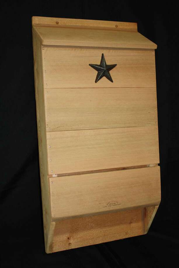 The Triple Chamber Bat House from Lone Star Woodcraft in Garden Ridge can accommodate about 300 bats.