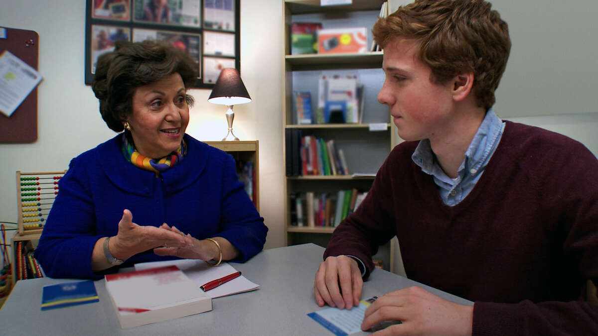 """Dylan Redford discusses his dyslexia with Dr. Sally Shaywitz in the HBO documentary """"The Big Picture: Rethinking Dyslexia."""""""