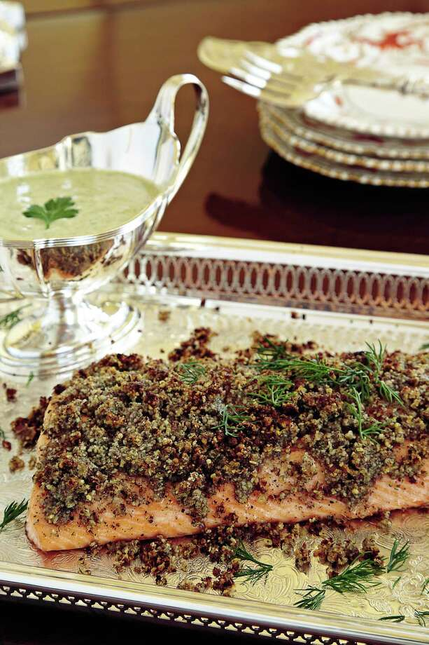 Pecan Crusted Salmon by Chef Alex Hitz Photo: Deborah Whitlaw Ll