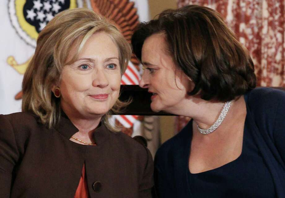 Secretary of State  Hillary Rodham Clinton and former British first lady Cherie Blair talk during an event at the State Department on Oct. 7, 2010 in Washington, DC. Photo: Mark Wilson, Getty Images / 2010 Getty Images