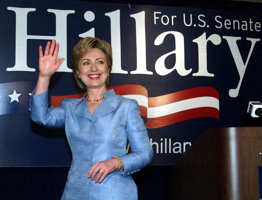 First Lady Hillary Clinton waves to reporters as she leaves a press conference in New York on Nov. 8, 2000. Clinton defeated Republican Congressman Rick Lazio to win the US Senate seat for New York. Photo: DOUG KANTER, Getty Images / AFP
