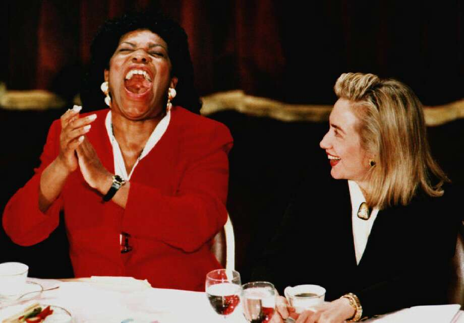 Elaine R. Jones, director-counsel of the NAACP Legal Defense & Educational Fund, roars with laughter on March 10, 1993 as she talks with First Lady Hillary Clinton. Photo: MIKE MARUCCI, Getty Images / AFP