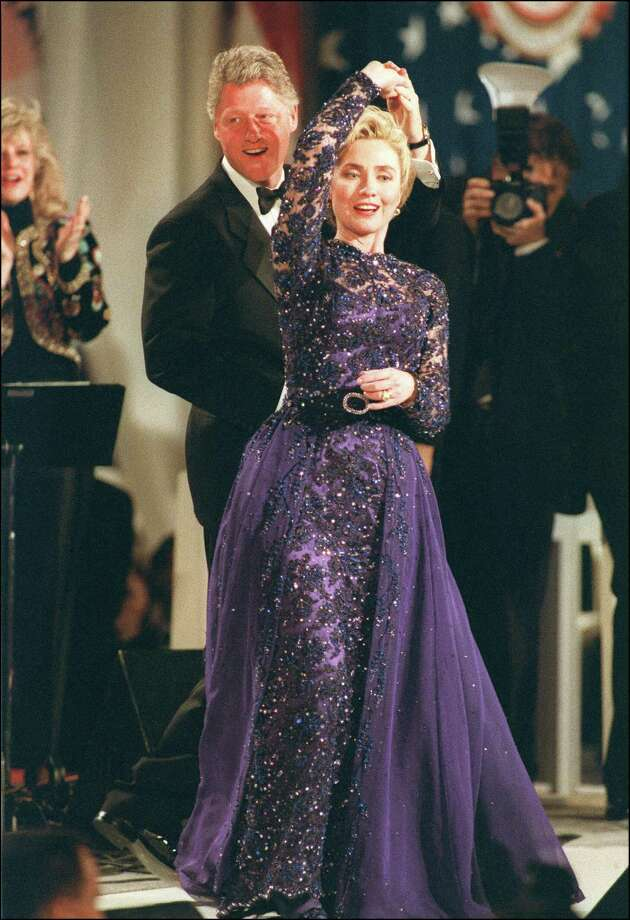 President Bill Clinton in a picture taken Jan. 20, 1993 in Washington, DC, holds First Lady Hillary Clinton during a dance as they stopped by the Arkansas inaugural ball. Photo: DAVID AKE, Getty Images / AFP