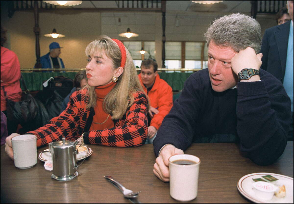 Democratic presidential candidate Bill Clinton and wife Hilary Clinton in a picture dated Feb. 16, 1992 in Bedford, N.H., relax during campaign tour.