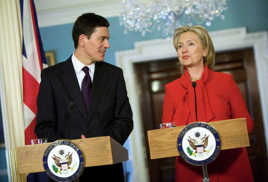 Secretary of State Hillary Clinton (R) meets with UK Foreign Secretary David Miliband Jan. 21, 2010 at the State Department in Washington, DC. Photo: Joshua Roberts, Getty Images / 2010 Getty Images