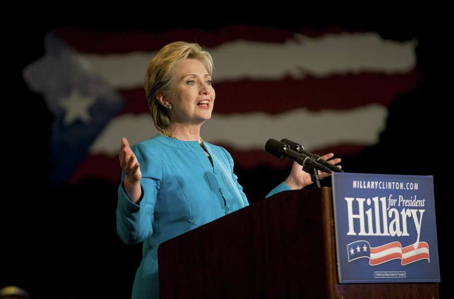 Democratic presidential hopeful New York Sen. Hillary Clinton speaks at her rally on the night of the Puerto Rico Democratic presidential primary, at the Condado Plaza Hotel and Casino in San Juan, Puerto Rico on June 1, 2008. Photo: ROBYN BECK, Getty Images / 2008 AFP