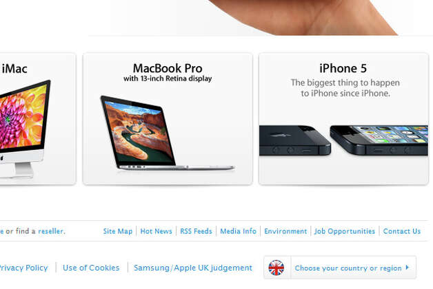 Screen shot of Apple's U.K. site, showing the link to the ruling notice. Photo: Apple