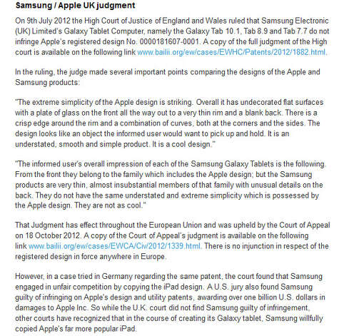 Screen shot of Apple's U.K. ruling notice Photo: Apple