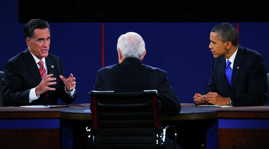 BOCA RATON, FL - OCTOBER 22:  U.S. President Barack Obama (R) debates with Republican presidential candidate Mitt Romney as moderator Bob Schieffer (C) of CBS looks on at the Keith C. and Elaine Johnson Wold Performing Arts Center at Lynn University on October 22, 2012 in Boca Raton, Florida. The focus for the final presidential debate before Election Day on November 6 is foreign policy.  (Photo by Joe Raedle/Getty Images) Photo: Joe Raedle, Getty Images / 2012 Getty Images