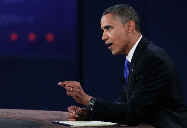 BOCA RATON, FL - OCTOBER 22:  U.S. President Barack Obama debates with Republican presidential candidate Mitt Romney (not seen) at the Keith C. and Elaine Johnson Wold Performing Arts Center at Lynn University on October 22, 2012 in Boca Raton, Florida. The focus for the final presidential debate before Election Day on November 6 is foreign policy.  (Photo by Marc Serota/Getty Images) Photo: Marc Serota, Getty Images / 2012 Getty Images