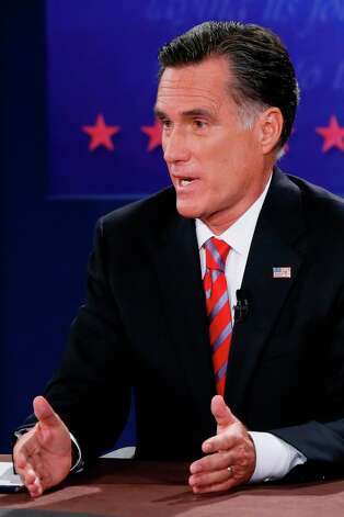 BOCA RATON, FL - OCTOBER 22:  Republican presidential candidate Mitt Romney debates with U.S. President Barack Obama at the Keith C. and Elaine Johnson Wold Performing Arts Center at Lynn University on October 22, 2012 in Boca Raton, Florida. The focus for the final presidential debate before Election Day on November 6 is foreign policy.  (Photo by Rick Wilking-Pool/Getty Images) Photo: Pool, Getty Images / 2012 Getty Images
