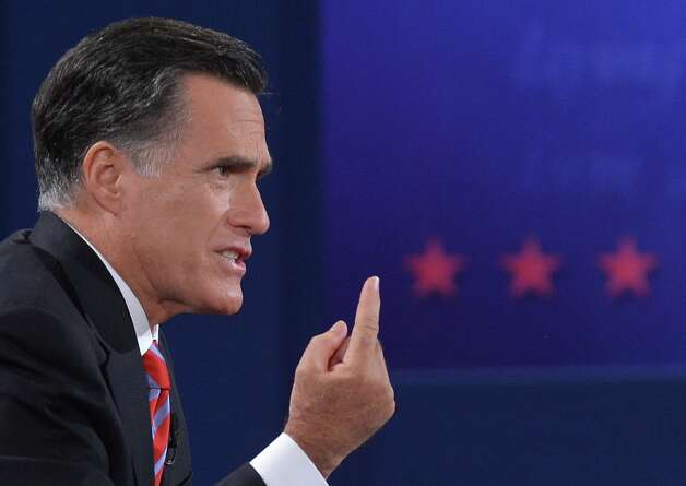 Republican presidential candidate Mitt Romney speaks during the third and final presidential debate with US President Barack Obama at Lynn University in Boca Raton, Florida, on October 22, 2012. The showdown focusing on foreign policy is being held in the critical toss-up state of Florida just 15 days before the election and promises to be among the most watched 90 minutes of the entire 2012 campaign. AFP PHOTO/Jewel SamadJEWEL SAMAD/AFP/Getty Images Photo: JEWEL SAMAD, AFP/Getty Images / AFP