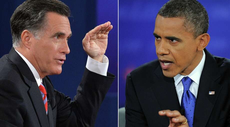 A combo picture shows the US President Barack Obama (R) and Republican presidential candidate Mitt Romney participate at the third and final presidential debate at Lynn University in Boca Raton, Florida, on October 22, 2012. The showdown focusing on foreign policy is being held in the critical toss-up state of Florida just 15 days before the election and promises to be among the most watched 90 minutes of the entire 2012 campaign. AFP PHOTO/Jewel SamadJEWEL SAMAD/AFP/Getty Images Photo: JEWEL SAMAD, AFP/Getty Images / AFP