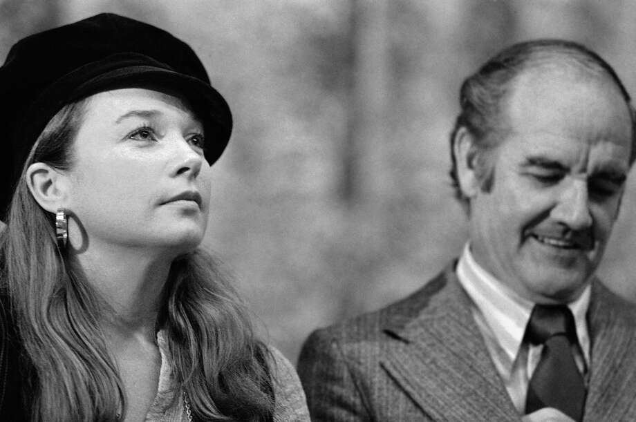 Actress Shirley MacLaine, left, joins Sen. George McGovern in political discussions May 23, 1972, while the two appeared at the University of Oregon in Eugene, Ore. MacLaine was among the young Hollywood stars who backed McGovern. Photo: Barry Sweet, Associated Press / AP