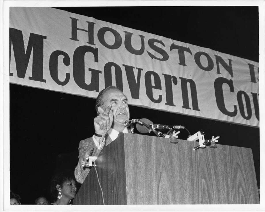 10/16/1972 - Democratic presidential candidate George McGovern speaks to Houston supporters at a Hermann Park rally on Oct. 16, 1972. Photo: Danny Connolly, Houston Chronicle / Houston Post