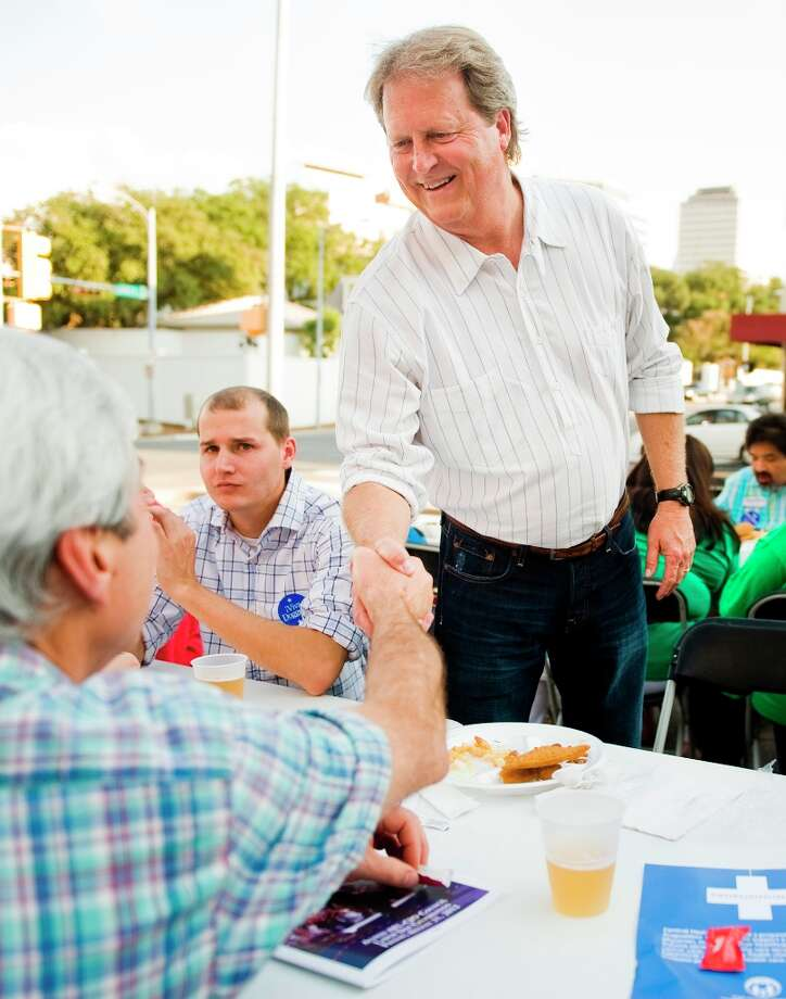 U.S. Senate candidate Paul Sadler (D) meets supporters during a fish fry at the American Federation of Labor - Congress of Industrial Organizations in Austin, TX on Fri., Aug. 31, 2012.