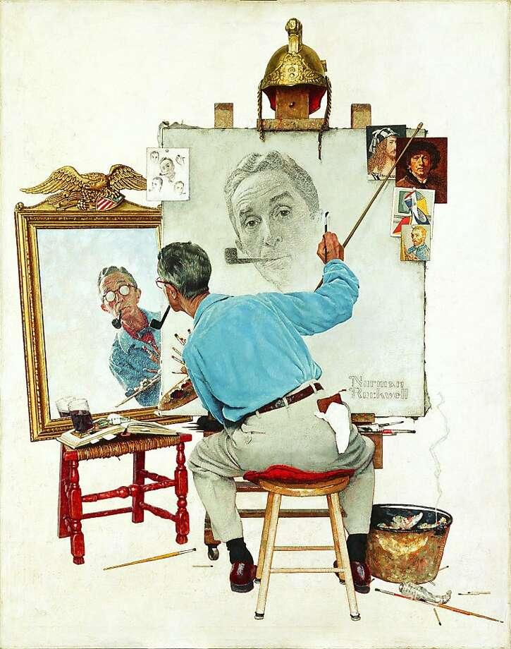 """Triple Self-Portrait,"" by Norman Rockwell is on display at the Crocker Art Museum in Sacramento through Feb. 3, 2013. Photo: Courtesy Crocker Art Museum"