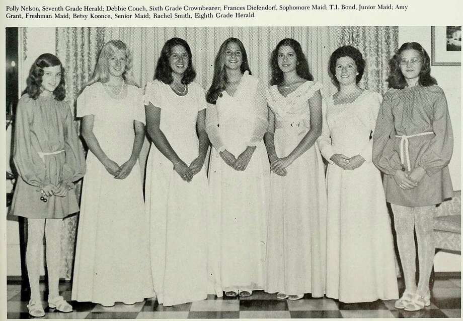 "She's also seen here a couple of years later, third from the left, as a ""junior maid"" Photo: Ancestry.com"