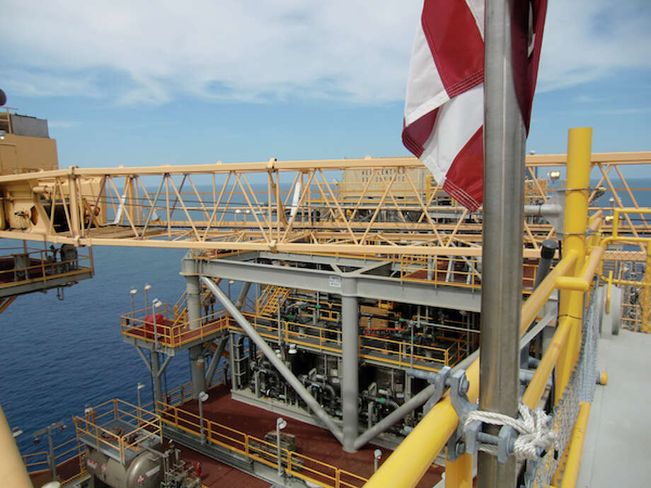 The deck of Chevron's Tahiti platform in the Gulf of Mexico spans 139,000 square feet. (Simone Sebastian/Houston Chronicle)