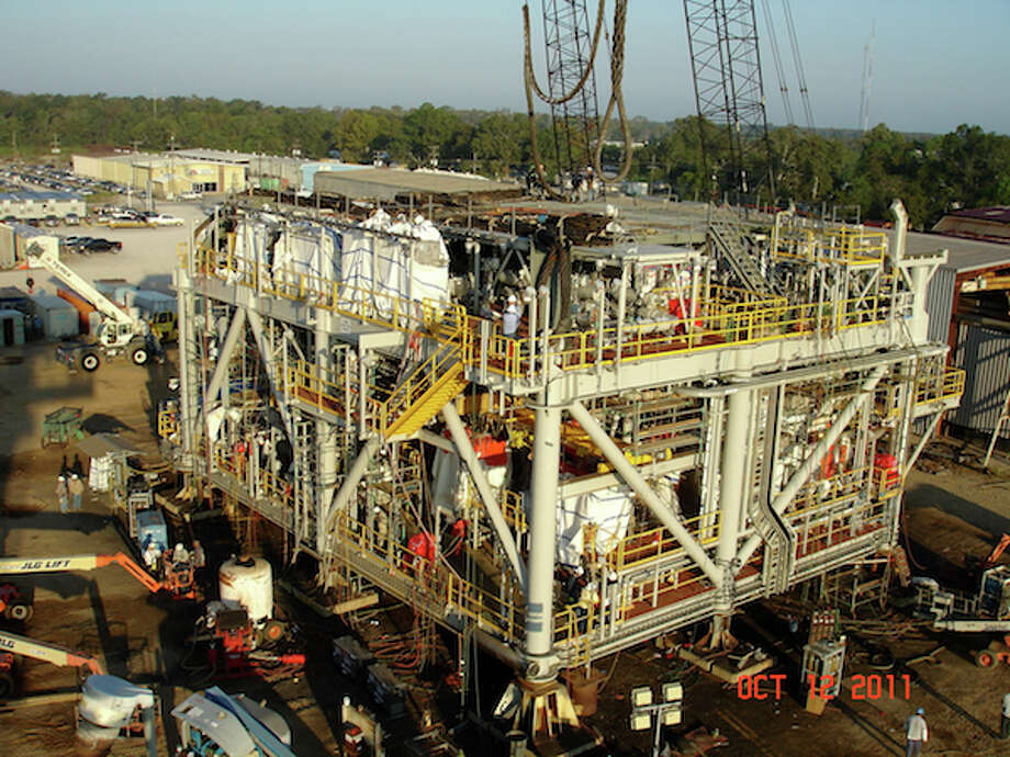 The water injection module for Chevron's Tahiti project prepares to be shipped from a fabrication yard in Amelia, La. to the deepwater Gulf of Mexico. (Jonathan Jones/Chevron)