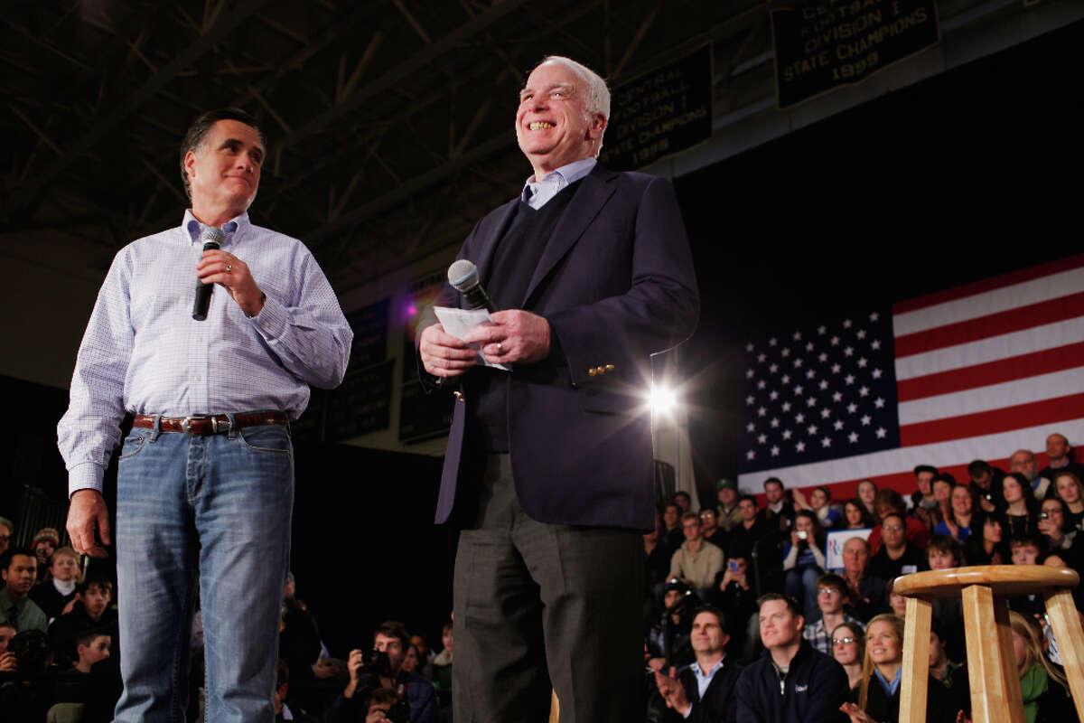 Former presidential nominee, U.S. Sen. John McCain (R-AZ), is pictured endorsing former Massachusetts Gov. Mitt Romney in January. (Photo by Chip Somodevilla/Getty Images)