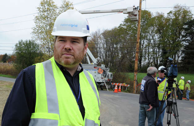 National Grid spokesman Patrick Stella at a work scene where media inquired about preparations for Hurricane Sandy on Friday, Oct. 26, 2012 in Loudonville, N.Y. (Lori Van Buren / Times Union) Photo: Lori Van Buren