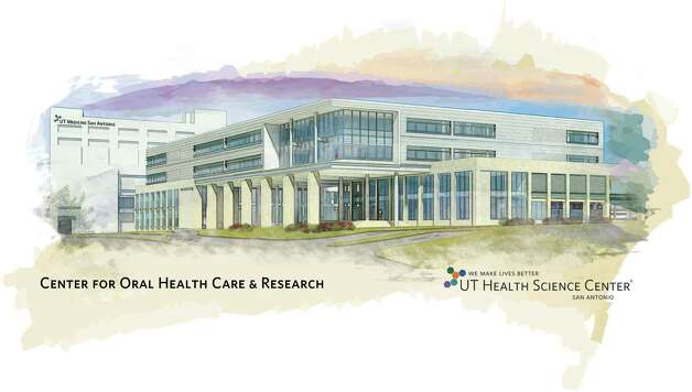 This is an artist's rendering of the 198,000-square-foot Center for Oral Health Care & Research, which will rise on the Greehey Campus and be nestled between the Medical Arts & Research Center and an anticipated children's hospital. Photo: UT Health Science Center