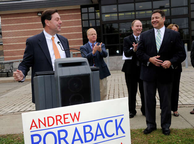 State Sen. Andrew Roraback, left, introduces  U.S. Rep. Bill Shuster of Pennsylvania at a press conference at the Danbury train station Friday, Oct. 26, 2012. Shuster, who could be the next chairman of the transortation committee, was there to support Roraback and to talk about future rail service in the area, Friday, Oct. 26, 2012. Photo: Carol Kaliff