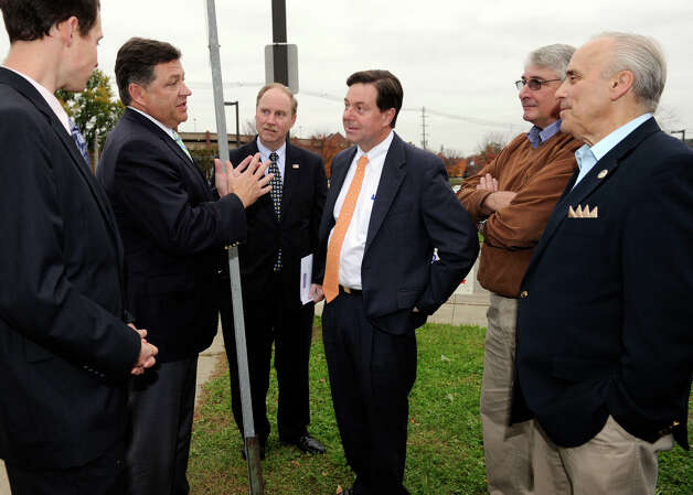 U.S. Rep. Bill Shuster, second from left, speaks with state Sen. Andrew Roraback, fourth from left, and other officials Friday, Oct. 26, 2012. Shuster was at the Danbury train station friday to talk about rail issues and to lend his support to Roraback in his bid for Congress. Photo: Carol Kaliff