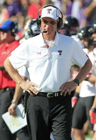 Texas Tech head coach Tommy Tuberville walks the sideline during the first half of an NCAA college football game against TCU, Saturday, Oct. 20, 2012, in Fort Worth, Texas.  (AP Photo/LM Otero) Photo: LM Otero, Associated Press / AP