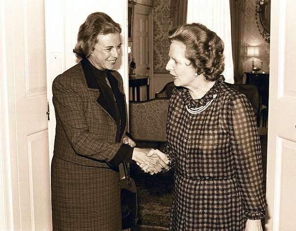 **FILE**US Supreme Court Judge Sandra Day O'Connor,left,is greeted by  Britain Prime Ministe