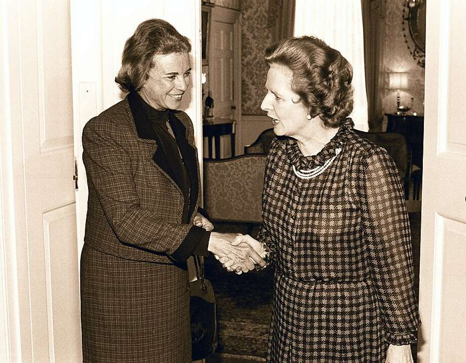 **FILE**US Supreme Court Judge Sandra Day O'Connor,left,is greeted by  Britain Prime Minister Margaret Thatcher during a visit in a  July 25, 1984 file photo. O'Connor, the first woman appointed to the Supreme Court, said  Friday July 1, 2005 she is retiring. (AP Photo/File)