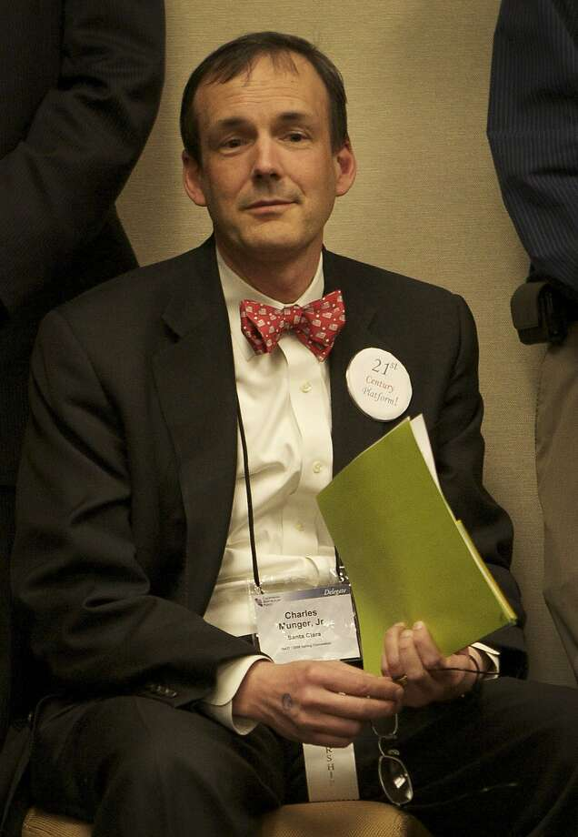 In this photo taken Feb. 22, 2008, Charles Munger Jr. of Santa Clara, a major donor to Proposition 32 on the California ballot is seen at the California Republican Party convention in San Francisco.  Munger, the son of wealthy investor Charles Munger Sr., is on the opposite side of the political isle as her half sister, Molly Munger, a wealthy civil rights attorney  who is major donor behind Proposition 38, which increase taxes for education. Both Mungers have spent millions in this election year to transform California's political landscape.  (AP Photo/Sacramento Bee, Brian Baer) Photo: Brian Baer, Associated Press