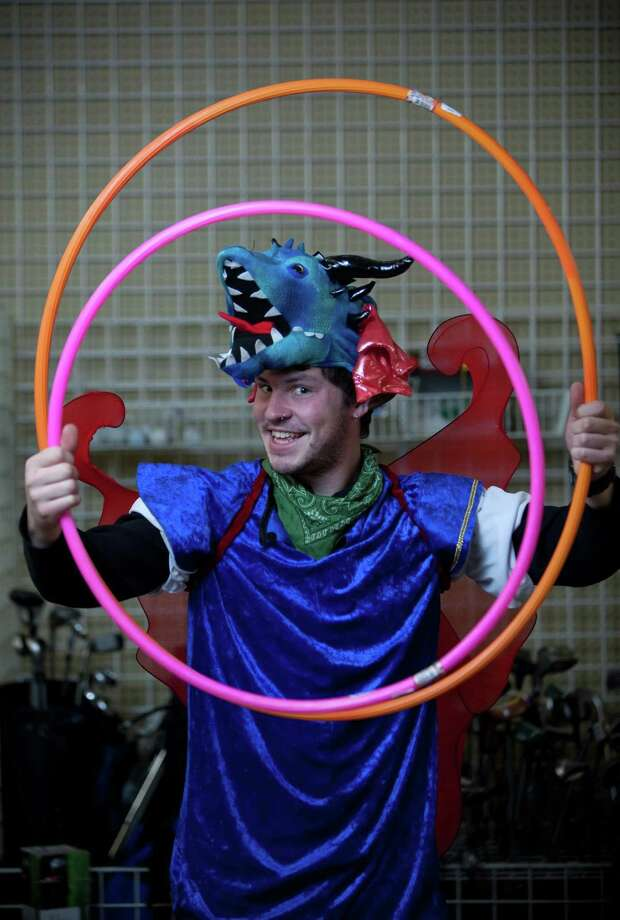 "Dylan James models a DIY ""dragon"" costume.Dragon head – $7.99Wings – $5.99Blue shirt – $5.99Used accessories – model ownsAbout $20 Photo: JOSHUA TRUJILLO / SEATTLEPI.COM"