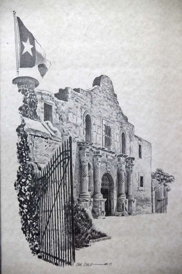 Detail of an Alamo image by Bob Dale Thursday Oct. 25, 2012 at Sarah Reveley's home. (San Antonio Express-News)