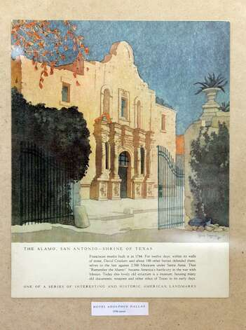Detail of a menu from the Hotel Adolphus Dallas with an Alamo image Thursday Oct. 25, 2012 at Sarah Reveley's home. (San Antonio Express-News)