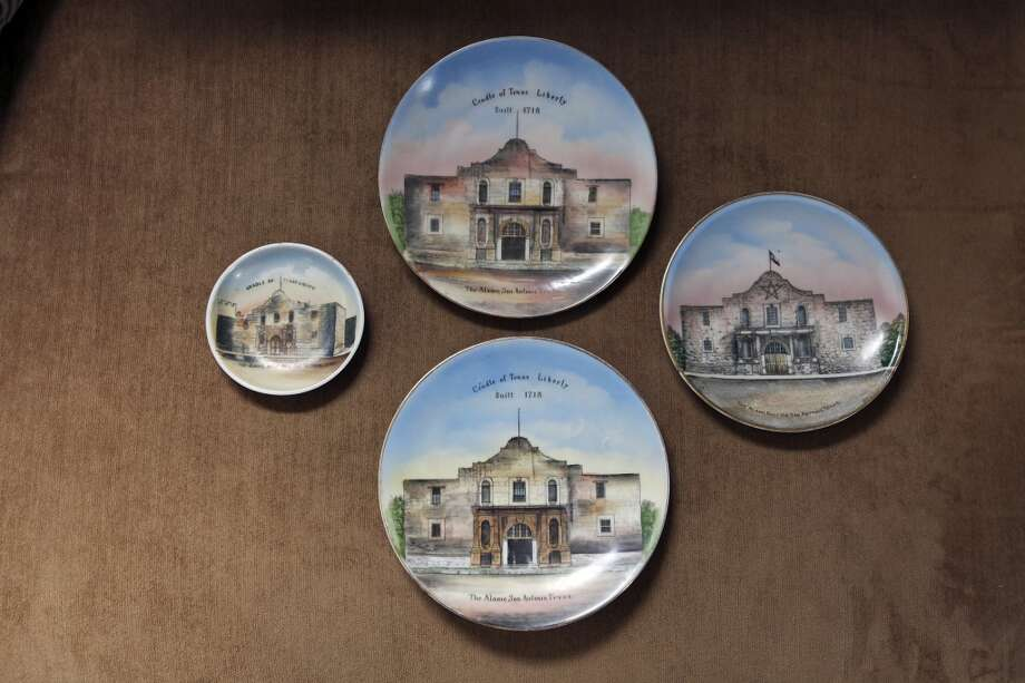 Detail of Alamo plates made in Germany Thursday Oct. 25, 2012 at Sarah Reveley's home. (San Antonio Express-News)