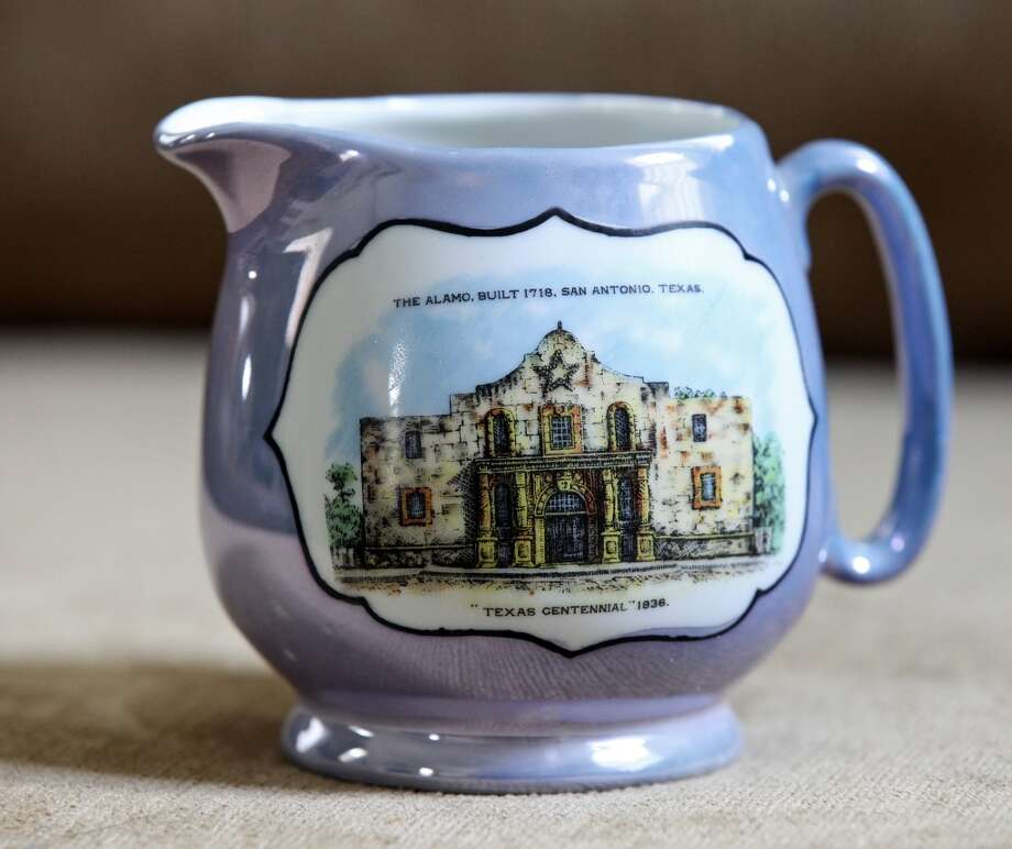 Detail of Japanese lacquer ware pitcher with an image of the Alamo Thursday Oct. 25, 2012 at Sarah Reveley's home. (San Antonio Express-News)